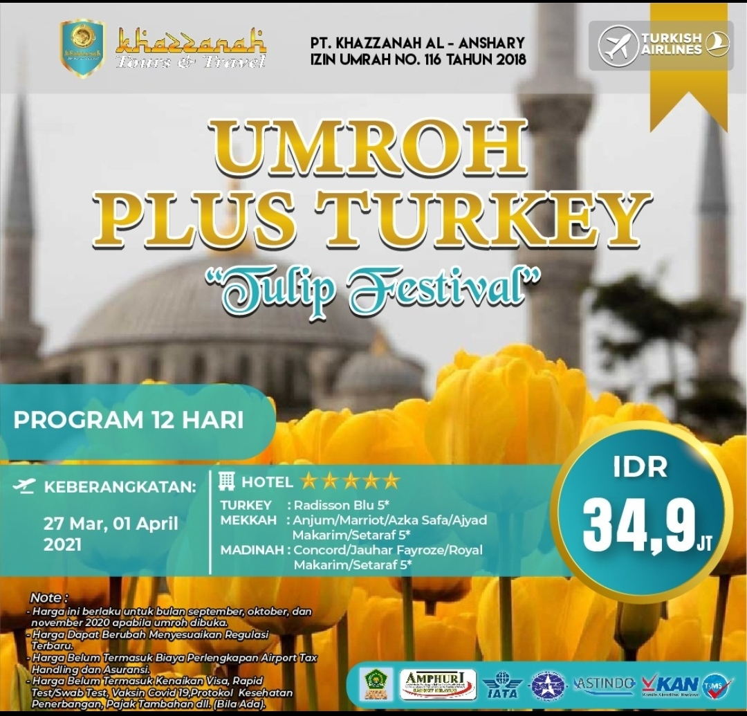 Paket Umroh Plus Turki 2021 Tulip Festival